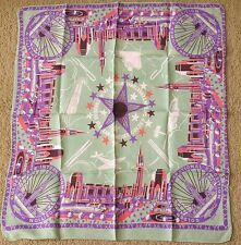 Vintage Golden Gate Expo Scarf Art Deco Pink Purple Green NICE!