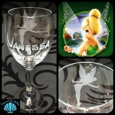 Personalised Disney Tinkerbell Wine Glass Gift Handmade & Free Name Engraving