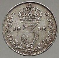 1918 UK Great Britain United Kingdom KING GEORGE V Silver Threepence Coin i56803