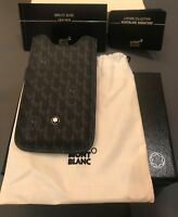 NEW MONTBLANC Black Signature Print LEATHER CASE POUCH IPHONE 5 5SE 110273 FREE!