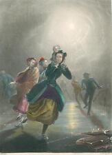 alte Grafik Druck Stich, A.H. Payne Eislaufen coloriert von 1842 #E819