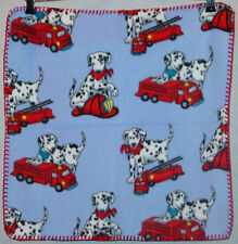 "ADORABLE 101 DALMATIONS INFANT BLUE WITH FIRE ENGINES 18"" X 18"" BLANKIE NEW"