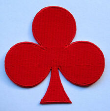 RED CLUB POKER PLAYING CARD Embroidered Iron on Patch Free Postage
