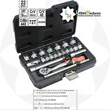 """Trinquete Socket Set 3/8"""" 22 piezas como-Drive Tech CrMo CRV Yato YT-38561"""