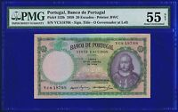 Portugal Banknotes  20 Escudos  1959  Pi153B PMG 55 ABOUT UNCIRCULATED PMG55