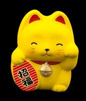 Hucha Gato Japonés Amarillo Maneki Neko En Cerámica Fabricado en Japón 70-CA4