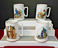 FOUR NORMAN ROCKWELL 1985 MUSEUM PORCELIN COFFEE CUPS GOLD TRIM PRE-OWNED JAPAN