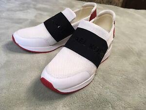 Womens Michael Kors HJ18L Wedge Sneaker Tennis Shoe Size 8 White, Red, & Black