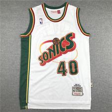 Retro 95-96 Seattle SuperSonics #40 Shawn Kemp Camiseta Jersey Baloncesto Blanco