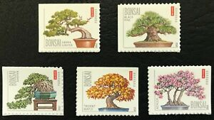 2012 #4618-22 - Forever - BONSAI TREES - Set of 5 Single Booklet Stamps - MNH