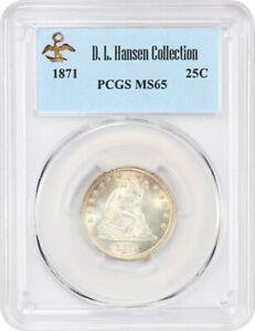 1871 25c PCGS MS65 ex: D.L. Hansen - Liberty Seated Quarter - Pretty Gem