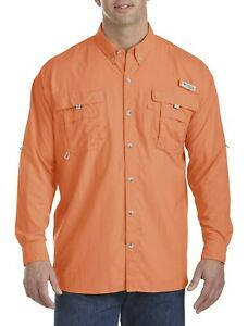 Columbia Mens Bahama II Orange Long Sleeve Shirt