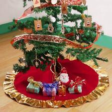 90CM Long Apron Red Christmas Tree Skirt Base Floor Mat Cover XMAS Party Decor