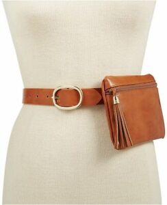 INC International Concepts faux leather tassel belt bag/Fanny pack-Cognac-MEDIUM