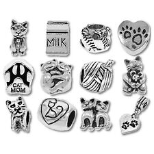 Beads and Charms for European Charm Bracelets Kitty Cat Hearts Pets Kitten Paws