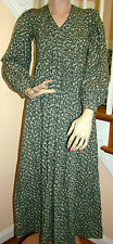Vintage 1960s70s LAURA ASHLEY Wales Green/White Wild Clematis Maxi Dress US 8