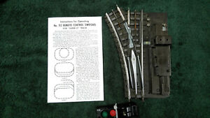 LIONEL SUPER O 112R LEFT HAND SWITCH WITH ALL RAIL PINS & BUS BAR CLEANED