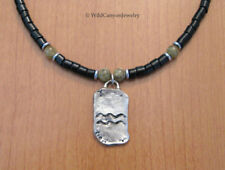with black agate & green garnet *Handmade* Pewter Aquarius Zodiac Sign Necklace