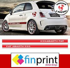 STRISCE ADESIVE FIAT 500 ABARTH FASCE LATERALI STICKERS DECAL CON OMAGGIO