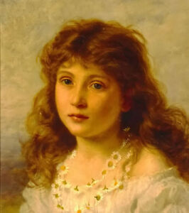 Dream-art Oil painting beautiful young girl portrait hand painted in oil canvas
