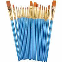 Paint Brush Set by, 20 pcs Nylon Hair Brushes for Acrylic Oil Watercolor Pai 6J7