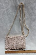 Light Pink/Beige Embroidered cut out Flowers w/Pearls Clutch Shoulder Purse/Bag