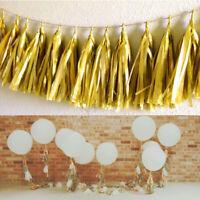 5X Gold Tissue Tassels Paper Garland Bunting Wedding Party Balloon Xmas Decor