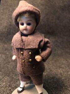 Antique Mignonette German Bisque Boy 4 In. Glass Eyes