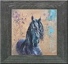 """Original painting - Contemporary by Gabriele Liedtke """"Frisian"""" Horse equestrian"""