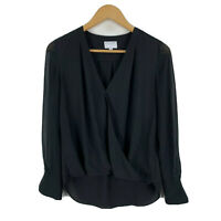 Witchery Womens Blouse Top Size 6 Black Long Sleeve V-Neck