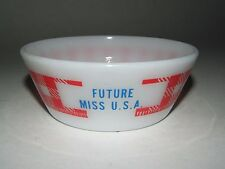 MILK GLASS FEDERAL WESTFIELD PERSONALIZED RED CHECKERED BOWL FUTURE MISS USA