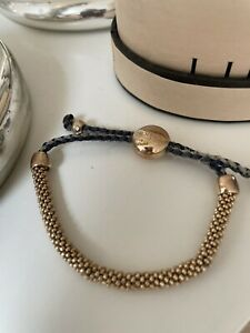GENUINE LINKS OF LONDON EFFERVESCENCE 18CT YELLOW GOLD & Grey Cord Bracelet