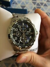Seiko Solar Chronograph Navy Blue Dial Stainless Steel Mens Watch SSC305