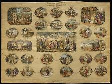 Rare 1853ca - L'histoire à vol d'oiseau - Planche encyclopédique, scolaire