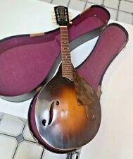 """Antique~SS Stewart~8 string Mandolin~Strad~olin+ Original Case~Unusual """"F"""" Holes"""