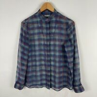 Jigsaw Blouse Top 8 Multicoloured Plaid Long Sleeve V-Neck Button Front Sheer