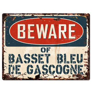 PPDG0187 Beware of BASSET BLEU DE GASCOGNE Plate Rustic TIN Chic Decor Sign
