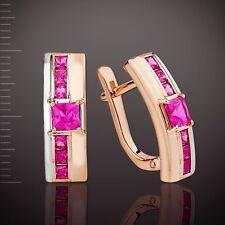 Rose Gold Ohrringe mit Rubin Bicolor Gold 585  5.15g . Prinzess Schliff NEU