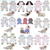 Various Pet Dog Puppy Cartoon Printed Cotton Jumpsuit Pajamas Clothes Coat XS-XL