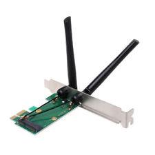 Wireless Network Card WiFi Mini Express to PCI-E Adapter 2 Antenna uk