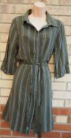 NEW LOOK KHAKI GREEN STRIPED SHORT SLEEVE BUTTONED BELTED T SHIRT SHIFT DRESS 10