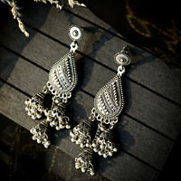 Fashion Indian Bollywood Earrings Jhumka Jhumki Silver Plated Wedding Jewellery