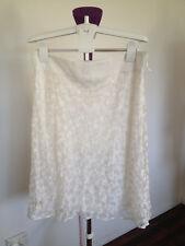 Liz Jordon Creme Lace A-Line Skirt with Front Split Size L