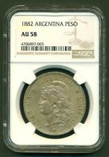 """ARGENTINA SILVER COIN 1 ONE PESO """"PATACON"""" 1882 CROWN  DOLLAR SIZE AU58 COND."""