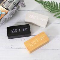 LED Wooden Alarm Clock Digital Voice Control Electronic Desktop USB Or AAA Watch