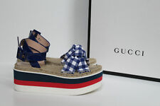 New sz 6.5 / 37 Gucci Layered Platform Espadrille Wedge Ankle Sandal Shoes