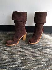 UGG AUSTRALIA 3214 JOSIE WOMEN BOOTS SZ 8 Brown Suede MID CALF Tall HEEL WINTER