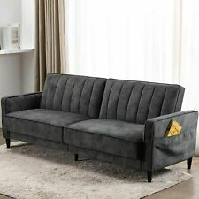 Modern Convertible Sofa Bed Fold Up & Down Couch Tufted Velvet Fabric Futon Sofa