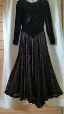 Vintage 80's Norma Kamali Black Velvet & Lace Princess Waist  Open Back Dress 4