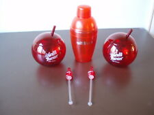 NEW GRAND MARNIER ACRYLIC Red ball Glasses, Shaker and 2 swizzle stick LOT.NICE!